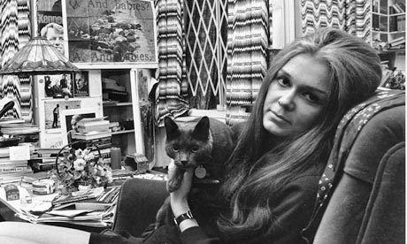 Gloria Steinem and her cat in 1970.