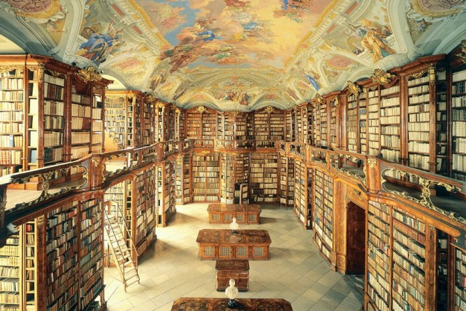 The library of the St. Florian Monastery in Austria